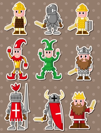 cartoon medieval people stickers Vector