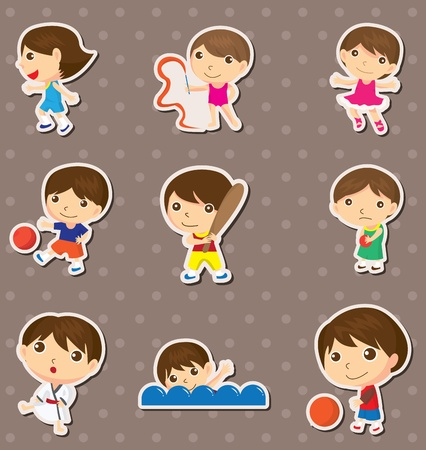 kid sport stickers Vector