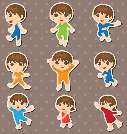 kid dance stickers Vector