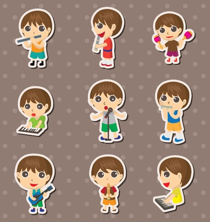 kid play music stickers Vector