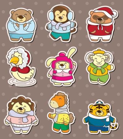 winter animal stickers Vector