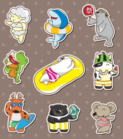 summer animal stickers Stock Vector - 13397681