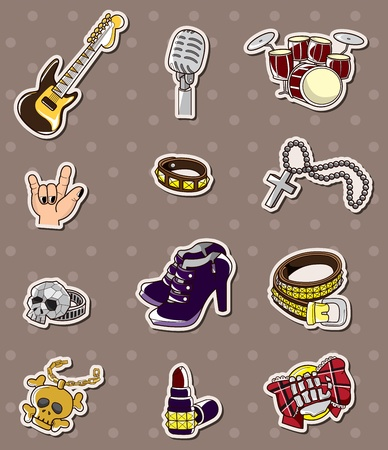 plucking an instrument: rock music band stickers