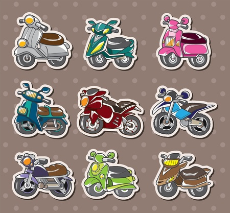 cartoon motorcycle stickers Stock Vector - 13397680