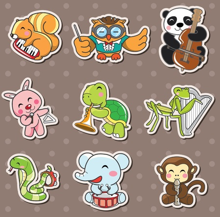 animal play music stickers Stock Vector - 13397578