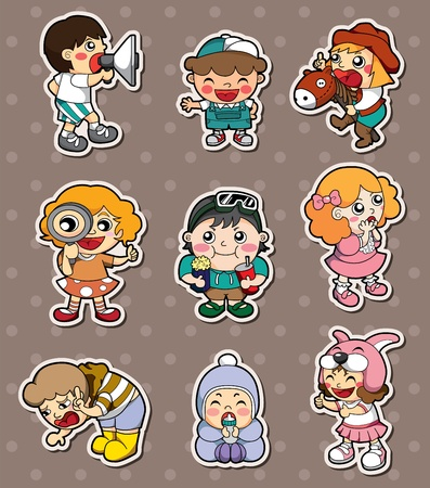 happy child stickers Vector