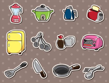 cartoon kitchen stickers Vector