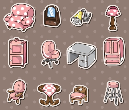 cartoon furniture stickers Stock Vector - 13397713