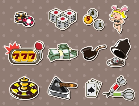 cartoon casino stickers Vector