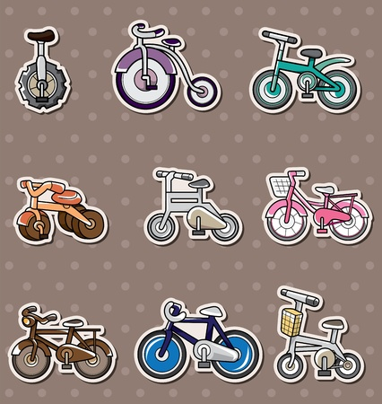 cartoon Bicycle stickers  Vector