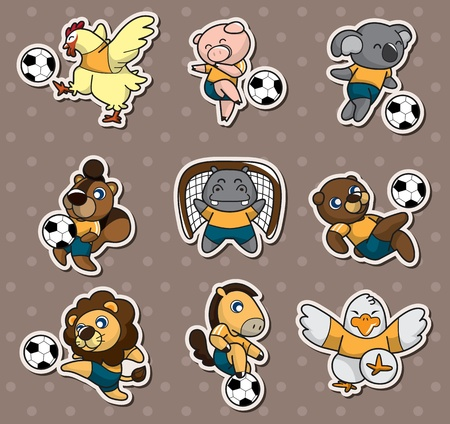 cartoon animal soccer player stickers Vector