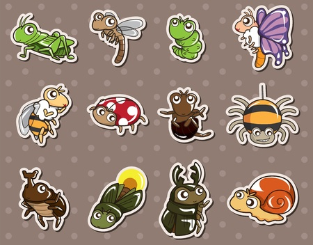 cartoon bug stickers Vector