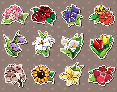 stickers: cartoon flower stickers Illustration