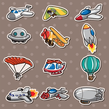 cartoon airplane stickers Vector