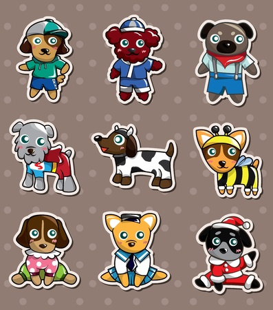 cartoon dog stickers Vector