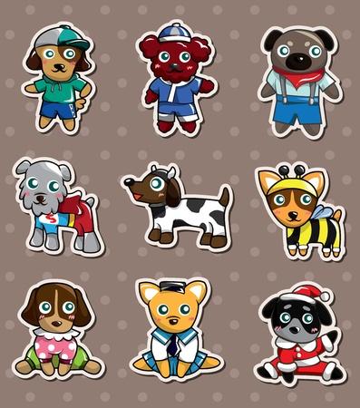 cartoon dog stickers 矢量图像