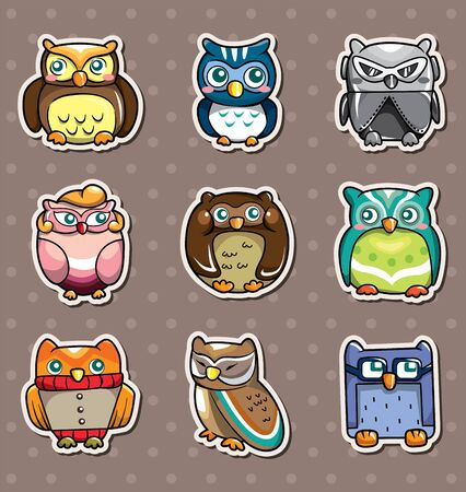 cartoon owl stickers Vector
