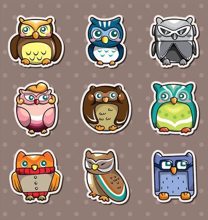 cartoon owl stickers Stock Vector - 13397711
