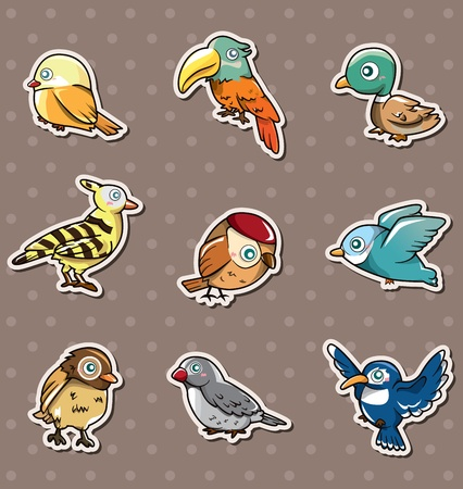 cartoon bird stickers Vector