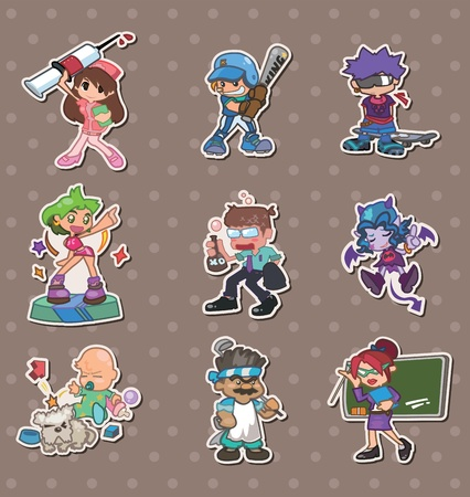 cartoon people stickers Vector