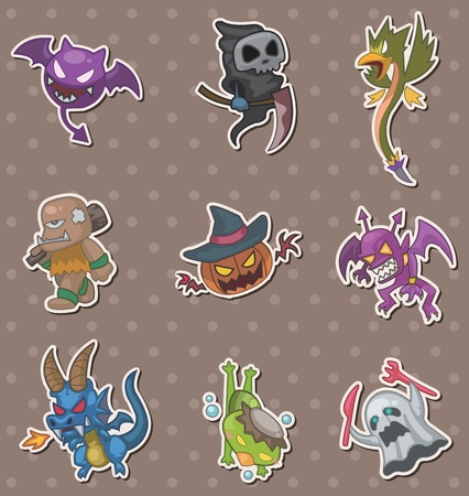 halloween monster stickers Stock Vector - 13397755