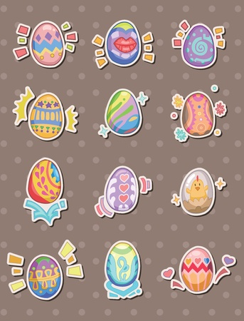 cartoon Easter egg stickers Vector