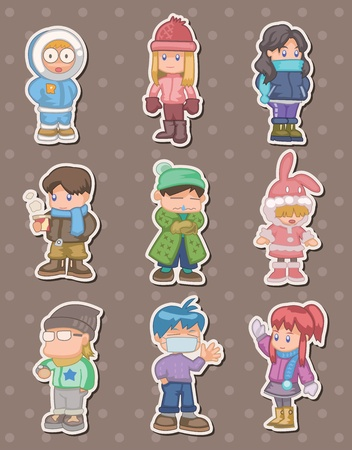 cartoon winter people stickers Vector