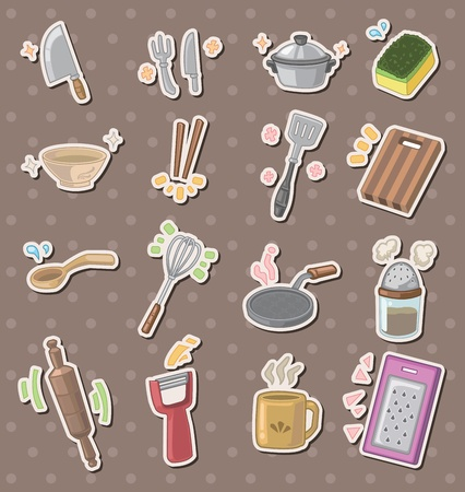 kitchen tool stickers Vector