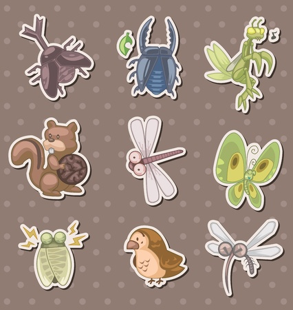 summer animal stickers Vector