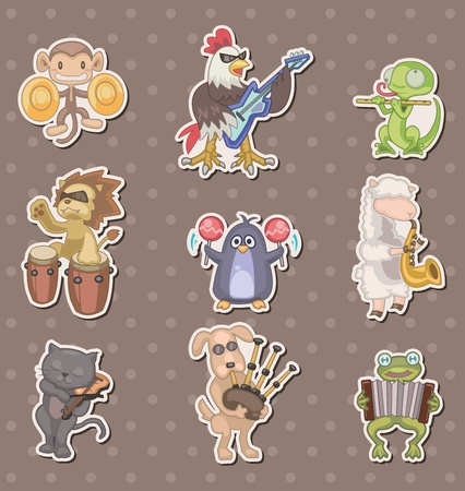 drawing instrument: animal play music stickers