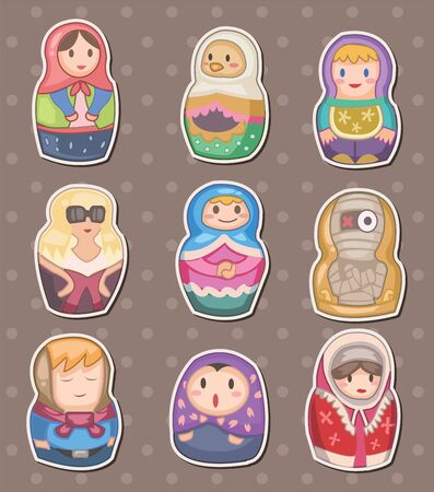 cartoon Russian stickers  Vector
