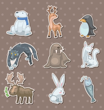 winter animal  stickers Stock Vector - 13397845
