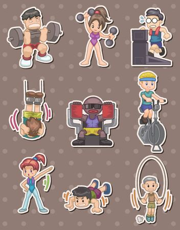 fitness stickers Vector