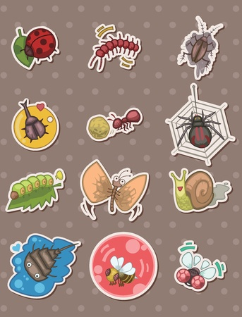 fireflies: insect stickers Illustration