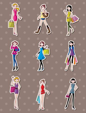 shopping woman stickers Vector