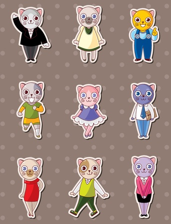 cat family stickers Vector