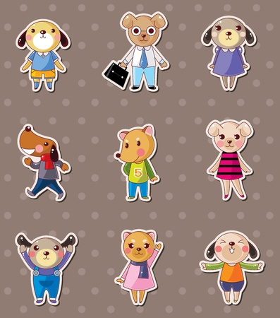 dog family stickers Vector
