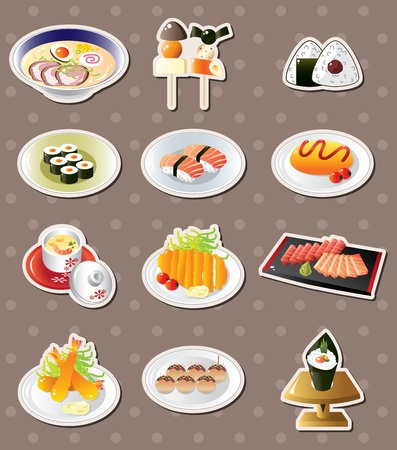 fried noodles: cartoon Japanese food stickers Illustration