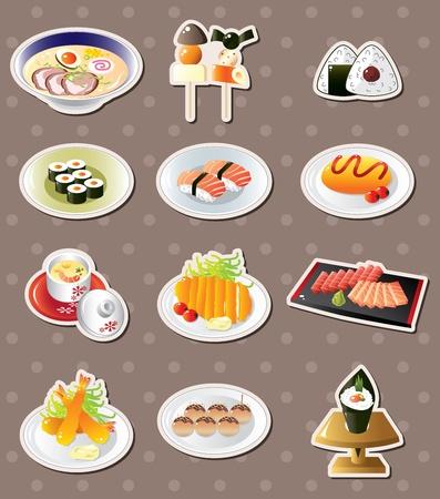 sake: cartoon Japanese food stickers Illustration