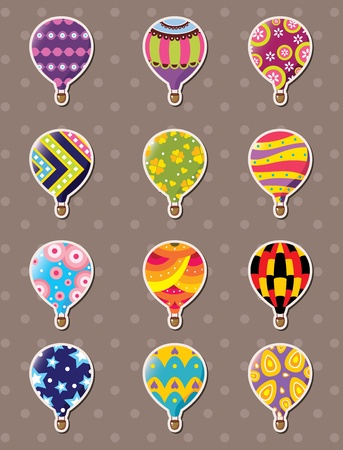 air sport: cartoon hot air balloon stickers  Illustration