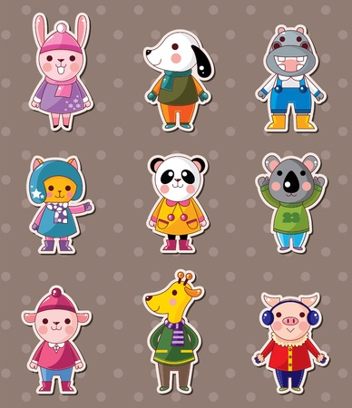 winter animal stickers Vector