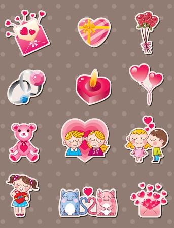 cartoon Valentines Day stickers Vector