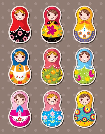 Russian dolls stickers  Vector