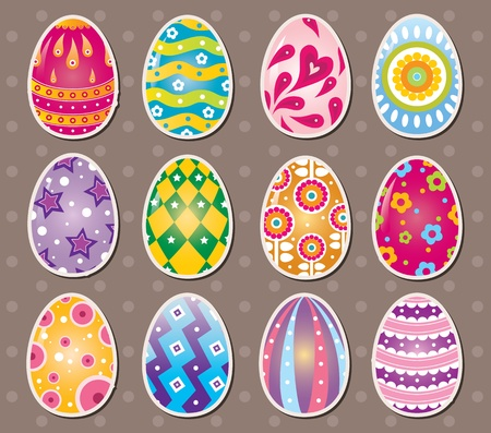 saturated color: cartoon Easter egg stickers