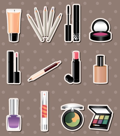 cartoon makeup stickers  Vector