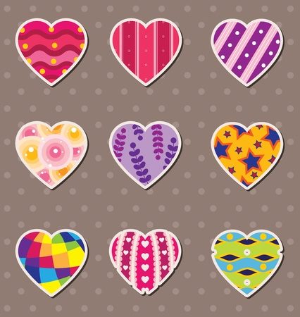 heart love stickers Stock Vector - 13477986