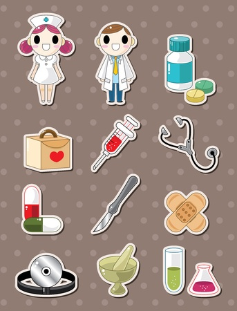 Hospital doodle stickers Vector