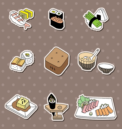 cartoon Japanese food stickers Stock Vector - 13478049
