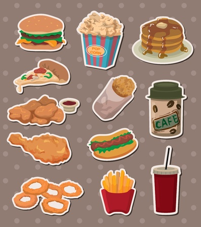 chinese fast food: fast food stickers Illustration