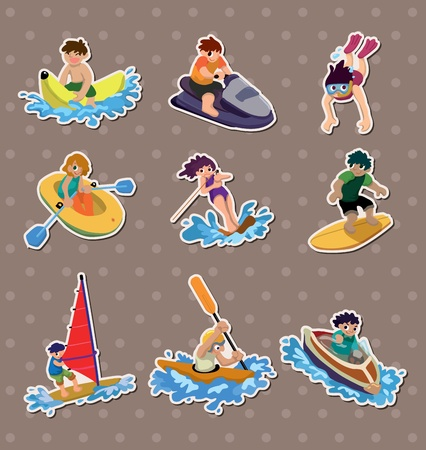 water skiing: water sport stickers